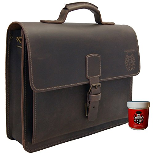 Baron of Maltzahn Briefcase LEIBNIZ Brown Leather - Made in Germany + Leather Care