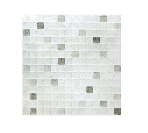 Peel & Impress – Pelar y Pegar baldosas de baldosas, Blanco mármol, 4 Tiles, 1