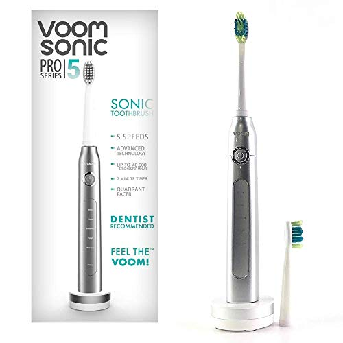 Voom Sonic Pro 5 Series Rechargeable Electronic Toothbrush | Dentist Recommended | Advanced Oral Care | 2 Minute Timer with Quadrant Pacing | 5 Adjustable Speeds | Soft Dupont Nylon Bristles