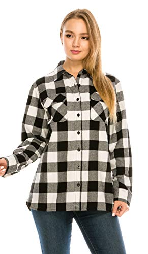 (YAGO Womens Classic Outdoor Button Up Long Sleeve Plaid Flannel)