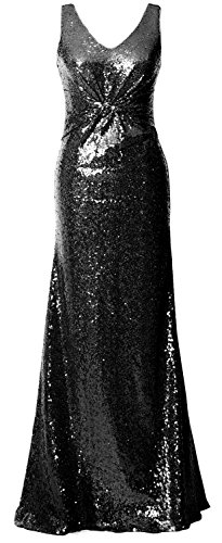 MACloth Women Straps V Neck Sequin Evening Gown Open Back Long Bridesmaid Dress Negro