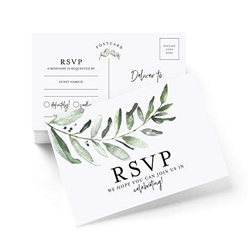 - RSVP postcards for Wedding, Rustic Greenery Response Cards, Reply Cards Perfect for Bridal Shower, Rehearsal Dinner, Engagement Party, Baby Shower or any Special Occasion (50 Pack)