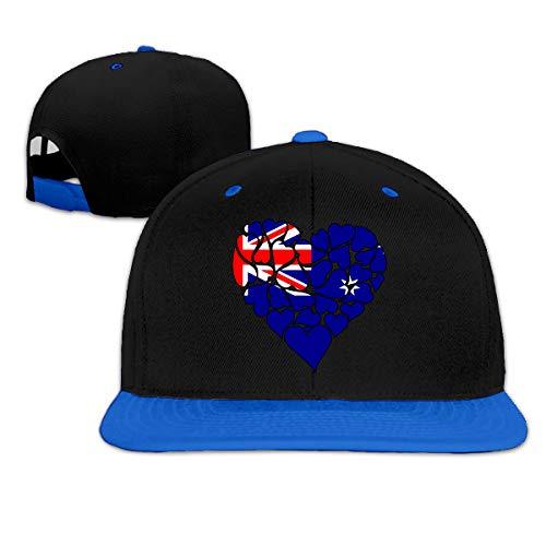 (Australia Flag Heart Love Unisex Hip Hop Flat Bill Baseball Hats, Contrast Color Dad Hat)