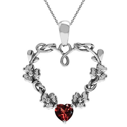 Cut Garnet 925 Silver Pendant (Natural Heart Shape Garnet 925 Sterling Silver Flower Pendant w/ 18 Inch Chain Necklace)