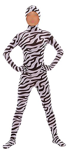 Seeksmile Kids Costume Full Body Lycra Zentai Suit Face Open (Kids Medium, Zebra)