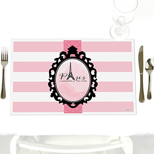 Paris, Ooh La La - Party Table Decorations - Paris Themed Baby Shower or Birthday Party Placemats - Set of -