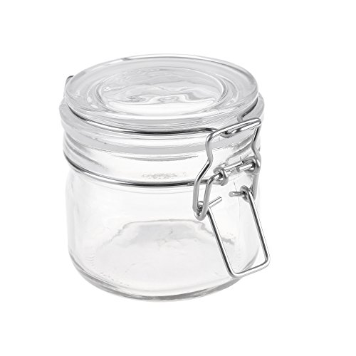 - Beautyflier 6.7Oz Glass Storage Jar Round Sealed Canister with Metal Clasp Lid Food Display Container for Pickles Cereal Sugar Coffee Tea Nut Dessert Appetizer Clear