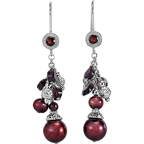 Sterling Silver Freshwater Cultured Pearl & Rhodolite Garnet Earrings from Stuller