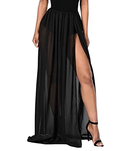Momtuesdays2 Women Split Mesh Skirt See-Through Beach Party Maxi Skirts (One Size, Black)