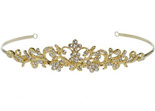 SparklyCrystal Rhinestone Bridal Wedding Prom Gold Crystal Tiara Crown 1037G6