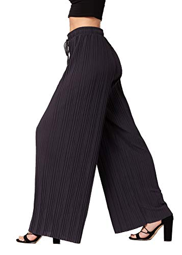 Premium Pleated Palazzo Pants for Women and Maxi Skirts - High Waist - Wide Leg - Drawstring (Plus Size, Solid Charcoal)