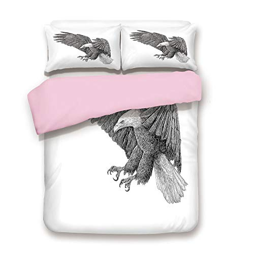 Pink Duvet Cover Set,Queen Size,Black and White Pencil Drawing Style Eagle with Detailed Features Wild Nature,Decorative 3 Piece Bedding Set with 2 Pillow Sham,Best Gift For Girls Women,Black Grey Whi