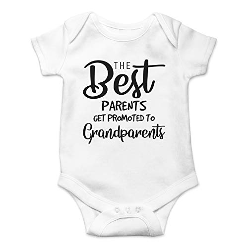 Funnwear The Best Parents Get Promoted to Grandparents Cute Pregnancy Baby Announcement Baby Dress (White, Newborn)