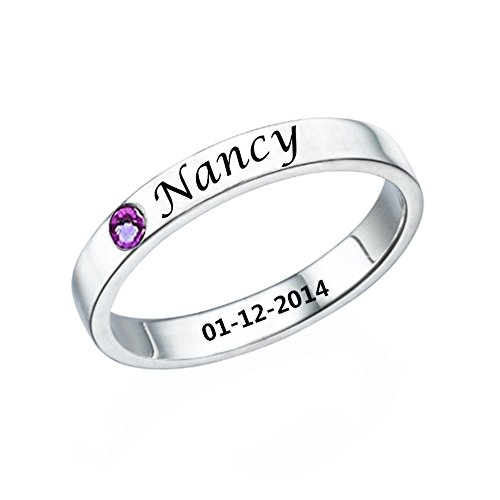 Ouslier 925 Sterling Silver Personalized Birthstone Promise Ring with Name Custom Made with Name & Date (Silver)