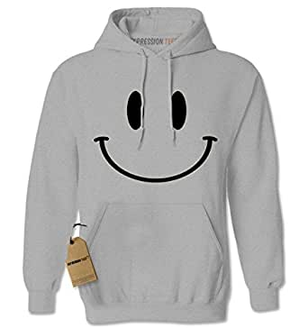Hoodie Big Smiley Face Adult Small Heather Grey