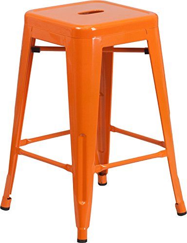 Emma + Oliver 24'' H Backless Orange Metal Indoor-Outdoor Counter Height Stool by Emma + Oliver