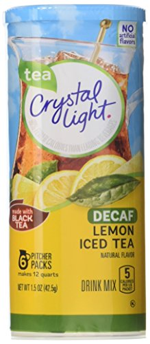 Caffeine Free Iced Tea - Crystal Light Drink Mix, Decaf Lemon Iced Tea, Pitcher Packets, 6 Count (Pack of 12 Canisters)-Packaging may vary