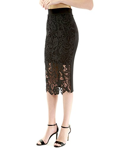 PattyBoutik Women Floral Lace Front Pencil Skirt (Black X-Small)