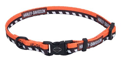 Checkered Nylon Adjustable Collars - Harley Davidson Li'l Bikers Adjustable Dog Collar | Harley Orange Checkered | 3/8
