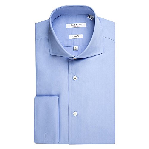 Isaac Mizrahi 71364FC Men's Slim Fit French Cuff Cotton Shirt - Ice Blue - 17 - French Linen Cuff