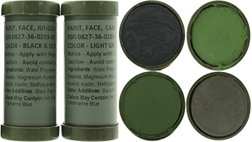 Army Universe Camo Face Paint, NATO Military Camouflage Outdoor Makeup Jungle Paint Sticks (2 Sticks (4 Colors) - Black, Olive Drab, Light Green & Loam) ()