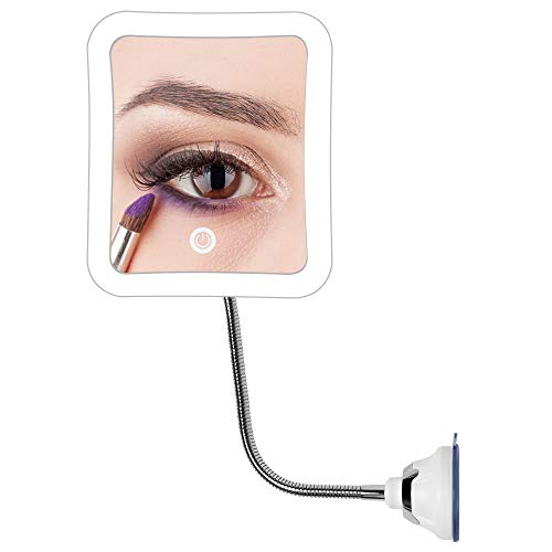 7x Magnifying LED Lighted Makeup Mirror Flexible Gooseneck Bathroom Magnification Vanity Square Mirror with Strong Suction Cup for Travel - Lock Cable Gooseneck