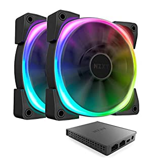 NZXT AER RGB 2-140mm - Advanced Lighting Customizations - Winglet Tips - Fluid Dynamic Bearing - LED RGB PWM Fan for Hue 2 - Twin Pack + Hue 2 Lighting Controller (B07GVZDXM9) | Amazon price tracker / tracking, Amazon price history charts, Amazon price watches, Amazon price drop alerts