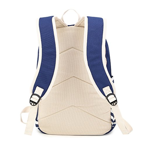 Bag Women for Student Striped Leisure Teenagers Canvas Daypack Shoulder Outdoor Travel Girls Rucksack Capacity Blue for Backpack Casual Lager GUBENM Backpack Bag Boys School zFdqzwHAxP