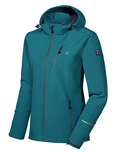 Little Donkey Andy Women's Softshell Jacket Ski Jacket with Removable Hood, Fleece Lined and Water Repellent Deep Lake Size L