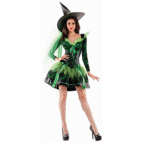Party King Women's Wicked Emerald Witch Body Shaper Costume, Green/Black, -
