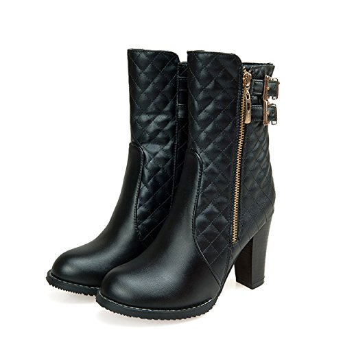 Strappy Ankle Black with Women Work Boots High Autumn Heels SNIDEL Chunky Buckle Zip Booties x0SaOnOdH