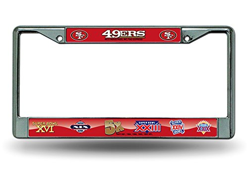 Rico Industries, Inc. San Francisco 49ers 5x Champions Chrome Frame Metal License Plate Cover ()