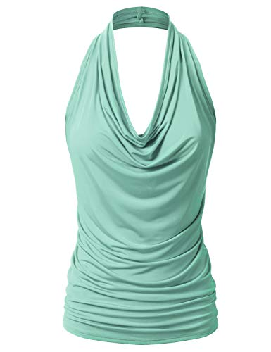 EIMIN Women's Casual Halter Neck Draped Front Sexy Backless Tank Top Mint L - Elegant Mint Green