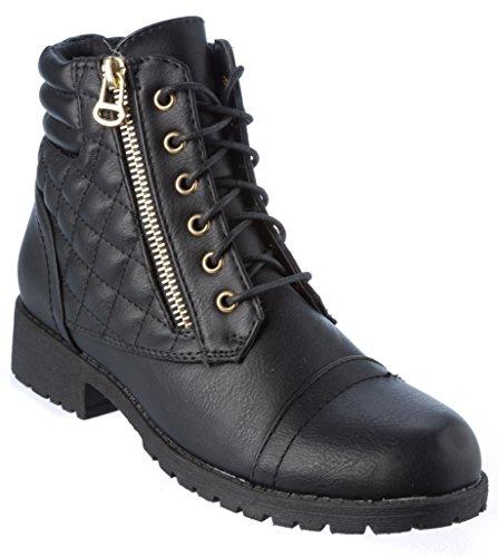 Nature Breeze Womans Ankle-High Boots Faux Leather Zipper Fashion Black Shoes Size 7
