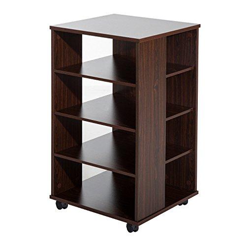 """(HOMCOM 33"""" Wooden Rolling 5 Shelf Media Center Display Storage Cart - Dark Chestnut Brown)"""