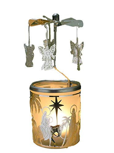 BANBERRY DESIGNS Spinning Angels Candle Holder with Holy Family Scene Scandinavian Style