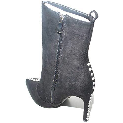 Con Tronchetto Linea Tendenza A Avorio Elegant Camoscio Perline Donna In Luxury Shoes Spillo Tacco Nero Malu Moda z5wTpqRxz