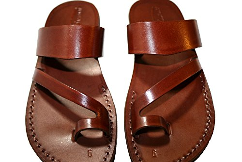 Land Leather Collection (Brown Roman Unisex Leather Sandals / Genuine Handmade Leather Holy Land Biblical Jesus Sandals (EURO # 42))