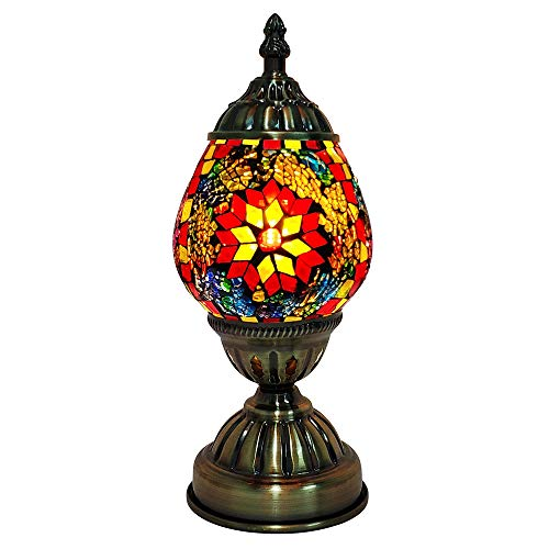 Mosaic Bedside Table Lamp Marrakech Turkish Mosaic Glass Egg Lamp Moroccan Lantern Desk Table Night Lamp Light with Bronze - Purple Mosaic Lamp Table