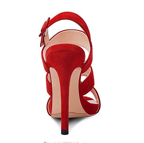 Cómodo Transpirable Negro Azul Yardas 39 Rojo Sandalias Para Mujer Antideslizante De Casual Tamaño 39 Alto Moda Rojo Frosted Fish 34 Color YNXZ Y Goma Suela SHOE Boca Creativa Tacón De Azul RwqHHp