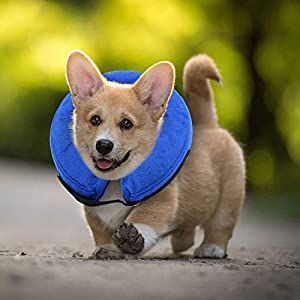 E-KOMG Dog Cone After Surgery, Protective Inflatable Collar, Blow Up Dog Collar, Pet Recovery Collar for Dogs and Cats Soft 49