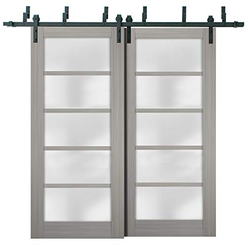 Sliding Closet Frosted Glass Barn Bypass Doors 84 x 96 inches   Quadro 4002 Grey Ash   Sturdy Top Mount 8ft Rails…