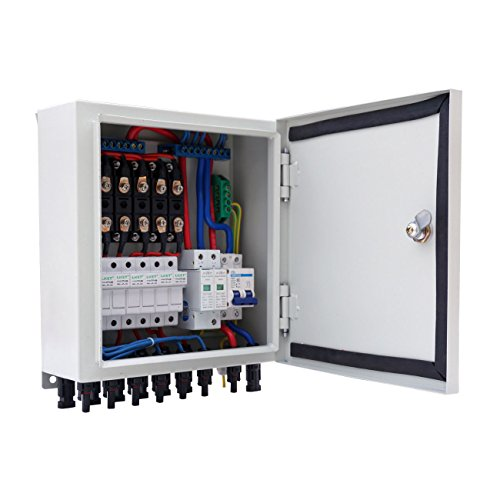 Alysontech 6-String Solar PV Combiner Box W Circuit Breaker Surge Lightning Protection ()