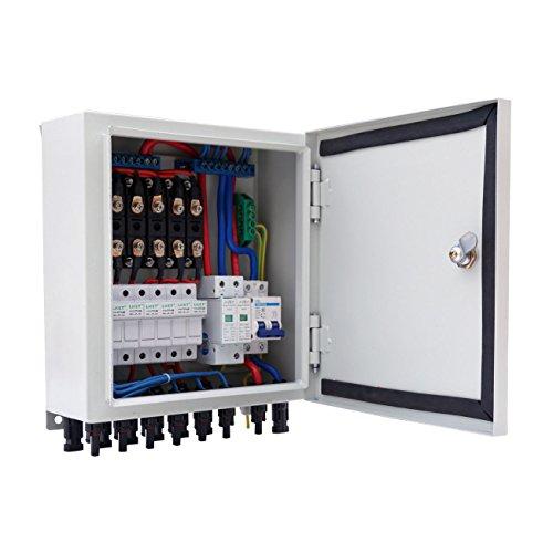 (Alysontech 6-String Solar PV Combiner Box W Circuit Breaker Surge Lightning Protection)
