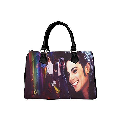 Michael Jackson Makeup (Michael Jackson King of Pop Barrel Type Handbag Canvas and PU Leather Large Capacity Hand Bag)