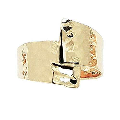 Gold Rings Wishbone (So Chic Jewels - Ladies 18k Gold Plated 18 mm Wide Hammered Effect Wishbone Ring - Size 8.5)