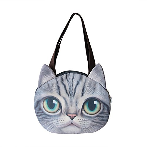 Price comparison product image Cute Cat Face Animal Theme Shoulder Bags Lovely Cat Head Stylish Large Capacity Travel School Shopping Handbags Clutch Tote Bags for Women Ladies Girls Light Grey