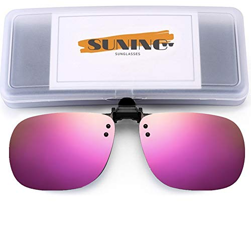 SUNINC Clip On Sunglasses Over Prescription Glasses Polarized Lens Flip Up Shades Driving Sunglasses for Men Women Pink Mirrored Lens Large Size