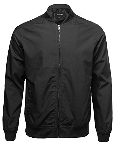 Classic Basic Style Zip Up Bomber Jacket Black Size L (Season Bomber Jacket)