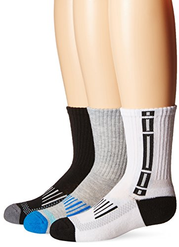 (Jefferies Socks Boys' Little Sport Tech Crew Half Cushion 3 Pair Pack, Multi, Medium)